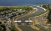 These are aerial photographs of the Orleans Avenue Canal floodgate in New Orleans.<br />