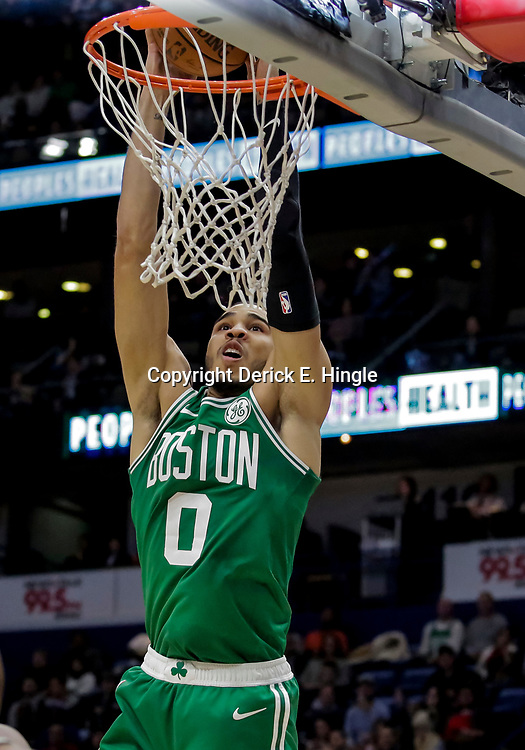 Nov 26, 2018; New Orleans, LA, USA; Boston Celtics forward Jayson Tatum (0) misses on dunk attempt against the New Orleans Pelicans during the second half at the Smoothie King Center. Mandatory Credit: Derick E. Hingle-USA TODAY Sports