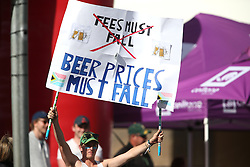 A Fan with a banner protesting for beer prices to fall during the 5th ODI match between South Africa and Australia held at Newlands Stadium in Cape Town, South Africa on the 12th October  2016<br /> <br /> Photo by: Shaun Roy/ RealTime Images