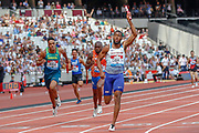 Nathaneel Mitchell-Blake, Great Britain, crossing the finish line in first position in the Men's 100m Relay, during the Muller Anniversary Games 2019 at the London Stadium, London, England on 21 July 2019.