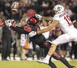 September 16, 2017 - San Diego, CA, USA - San Diego State safety Trey Lomax reaches out and almost intercepts a pass intended for Stanford's JJ Arcega-Whiteside, right, in the first quarter at Jack Murphy Stadium in San Diego on Saturday, Sept. 16, 2017. (Credit Image: © Hayne Palmour Iv/TNS via ZUMA Wire)