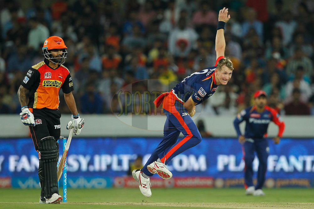 Christopher Morris of Delhi Daredevils bowls during match 42 of the Vivo IPL 2016 (Indian Premier League ) between the Sunrisers Hyderabad and the Delhi Daredevils held at the Rajiv Gandhi Intl. Cricket Stadium, Hyderabad on the 12th May 2016<br /> <br /> Photo by Deepak Malik / IPL/ SPORTZPICS
