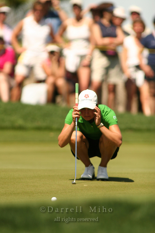 Apr. 2, 2006; Rancho Mirage, CA, USA; Lorena Ochoa reads her putt during the final round of the Kraft Nabisco Championship at Mission Hills Country Club. ..Mandatory Photo Credit: Darrell Miho.Copyright © 2006 Darrell Miho .