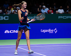 October 26, 2018 - Kallang, SINGAPORE - Kristina Mladenovic of France in action during her doubles quarterfinal match at the 2018 WTA Finals tennis tournament (Credit Image: © AFP7 via ZUMA Wire)