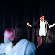 The Second City comedian Barry Hite works with members of Cocheco Arts and Technology Academy in an Improv master class at The Music Hall Loft in Portsmouth, NH