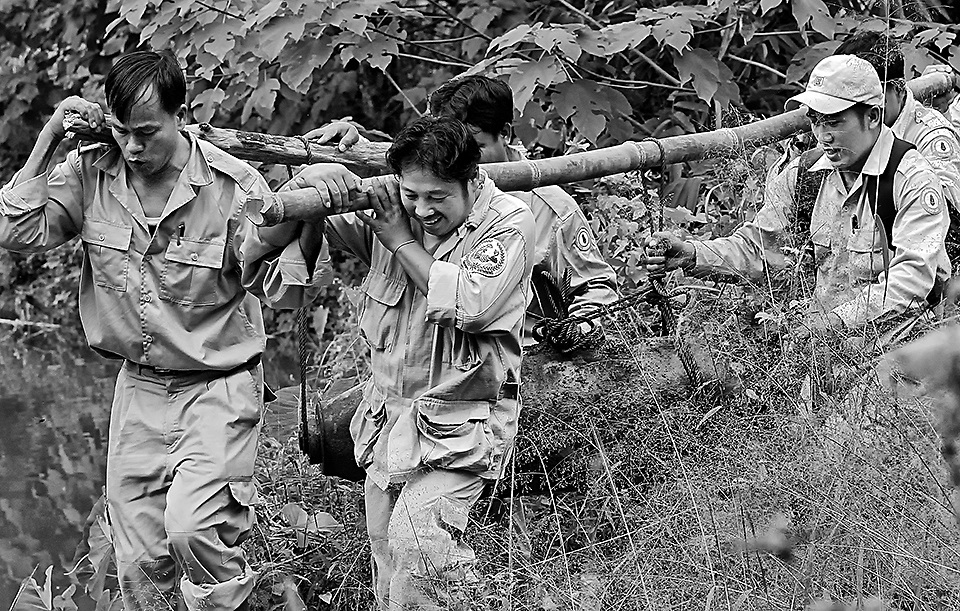 UXO Lao staff carry a 250 lb bomb from the creek bed where they have just completed the removal of the detonator.