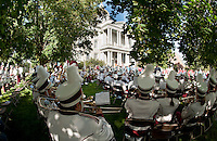 """The Concord High School Crimson Tide Marching Band performs """"Salute To Freedom"""" during the 10 Year Observance of September 11 at the State House Plaza Sunday morning.  (Karen Bobotas/for the Concord Monitor)"""