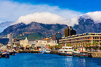 Victoria & Alfred Waterfront with Cape Grace Hotel, Central Business District and Table Mountain behind, Cape Town, South Africa.