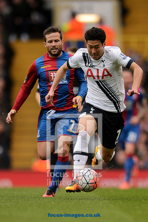 Son Heung-Min of Tottenham Hotspur looks to get past Yohan Cabaye of Crystal Palace during the FA Cup match between Tottenham Hotspur and Crystal Palace at White Hart Lane, London<br /> Picture by Richard Blaxall/Focus Images Ltd +44 7853 364624<br /> 21/02/2016