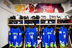 Jerseys of Bostjan Golicic of Slovenia, David Rodman of Slovenia, Jan Urbas of Slovenia and Ziga Jeglic of Slovenia in Dressing room of Team Slovenia at the 2017 IIHF Men's World Championship, on May 11, 2017 in AccorHotels Arena in Paris, France. Photo by Vid Ponikvar / Sportida