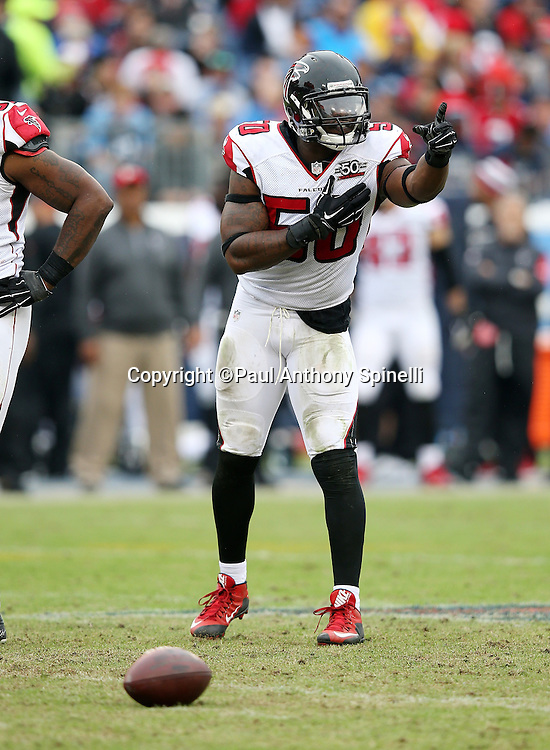 Atlanta Falcons linebacker O'Brien Schofield (50) points during the 2015 week 7 regular season NFL football game against the Tennessee Titans on Sunday, Oct. 25, 2015 in Nashville, Tenn. The Falcons won the game 10-7. (©Paul Anthony Spinelli)