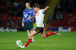 Munster Fly-Half (#10) Ronan O'Gara kicks a Penalty during the second half of the match - Photo mandatory by-line: Rogan Thomson/JMP - Tel: Mobile: 07966 386802 16/12/2012 - SPORT - RUGBY - Vicarage Road - Watford. Saracens v Munster Rugby - Heineken Cup Round 4.