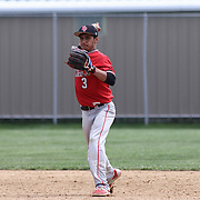 William Penn Infielder Gary Walsh (3) throws the ball to first base during of a varsity scheduled game between the Colonials of William Penn and The St. Elizabeth Vikings Saturday, April 25, 2015, at William Penn High School baseball field in New Castle Delaware.<br /> <br /> William Penn defeats St. Elizabeth 6-5