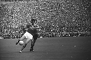 All Ireland Senior Football Championship Final, Kerry v Down, 22.09.1968, 09.22.1968, 22nd September 1968, Down 2-12 Kerry 1-13, Referee M Loftus (Mayo)..Kerry forward gets in his kick ,