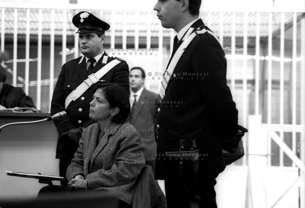 Roma 1993<br /> Aula bunker del Foro Italico<br /> Processo Moro-Quater alle Brigate Rosse. Barbara Balzerani