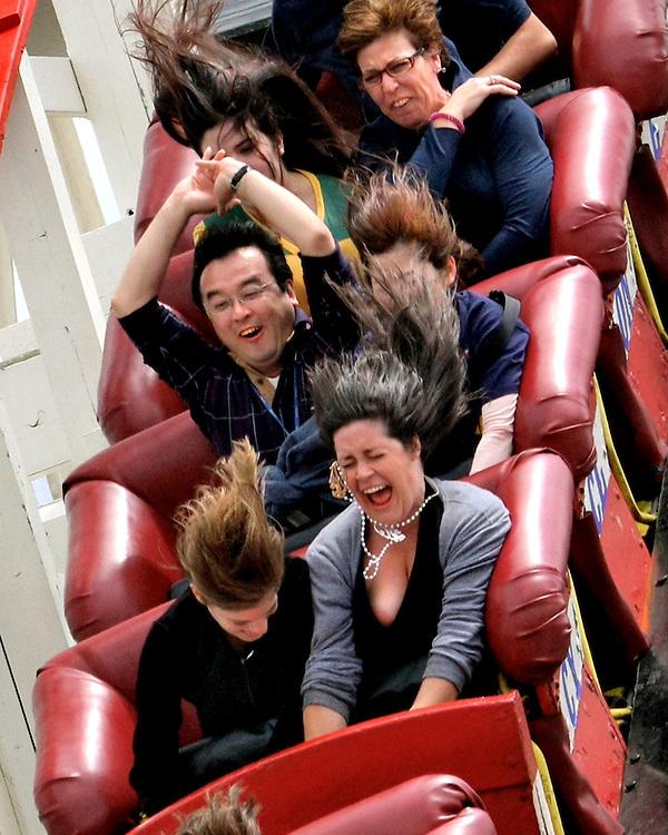 Down We Go! Coney Island, Brooklyn's Cyclone roller coaster.