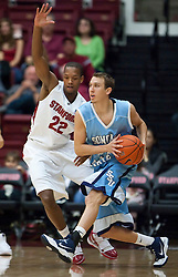 November 6, 2009; Stanford, CA, USA;  Sonoma State Seawolves guard/forward Jason Walter (21) is defended by Stanford Cardinal guard Jarrett Mann (22) during the first half of an exhibition game at Maples Pavilion.