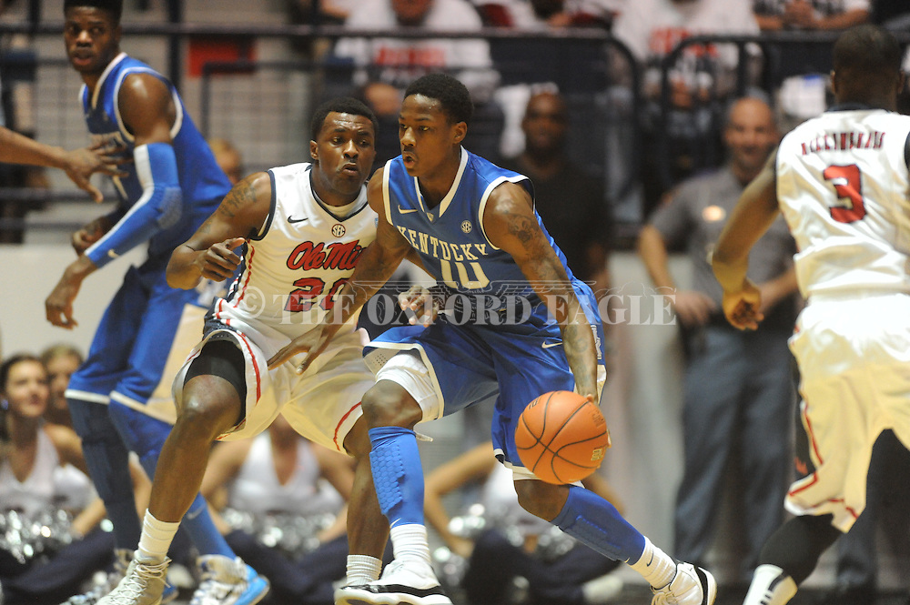 "Kentucky's Archie Goodwin (10) vs. Ole Miss' Nick Williams (20) at the C.M. ""Tad"" Smith Coliseum on Tuesday, January 29, 2013.  (AP Photo/Oxford Eagle, Bruce Newman).."