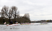 Putney, GREAT BRITAIN,   Leander Club, left, loaded with Beijing Medallist, pulls back Cambridge's early lead as the crews race round the Hammersmith bend with LC. going on to win the 2009 Pre Boat Race Fixture,  Cambridge [CUBC] vs Leander Club, raced over part of the 'Championship Course' Putney to Mortlake, on the River Thames, Fri. 13.03.2009. [Mandatory Credit, Peter Spurrier / Intersport-images