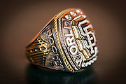 SAN FRANCISCO, CA - APRIL 21:  A single Bruce Bochy world series ring. Tuesday, April 21 2015 in San Francisco, California. Photo by Jean Fruth