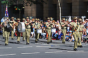 Australian Army band marches during Brisbane ANZAC day 2005 parade
