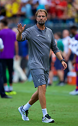 CHARLOTTE, USA - Sunday, July 22, 2018: Liverpool's manager Jürgen Klopp waves to the supporters after a preseason International Champions Cup match between Borussia Dortmund and Liverpool FC at the  Bank of America Stadium. Borussia Dortmund won 3-1. (Pic by David Rawcliffe/Propaganda)