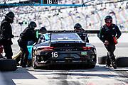 January 22-26, 2020. IMSA Weathertech Series. Rolex Daytona 24hr. #16 Wright Motorsports, Porsche 911 GT3 R, Ryan Hardwick, Patrick Long, Klaus Bachler, Anthony Imperato pitstop