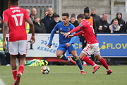 AFC Wimbledon attacker Harry Forrester (11) dribbling during the The FA Cup match between AFC Wimbledon and Charlton Athletic at the Cherry Red Records Stadium, Kingston, England on 3 December 2017. Photo by Matthew Redman.