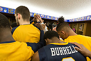 March 5, 2018 - Asheville, North Carolina - U.S. Cellular Center: ETSU forward Mladen Armus (33), ETSU forward David Burrell (2), ETSU forward Jeromy Rodriguez (13)<br /> <br /> Image Credit: Dakota Hamilton/ETSU