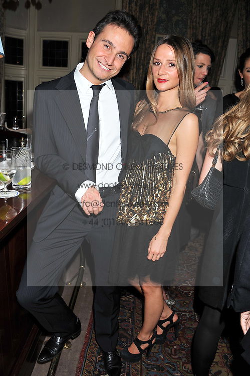 DARIO SACCHETTI and AMANDA CROSSLEY at a dinner hosted by Edward Taylor and Alexandra Meyers in association with Johnnie Walker Blue Label held at Mark's Club, 46 Charles Street, London W1 on 26th April 2012.