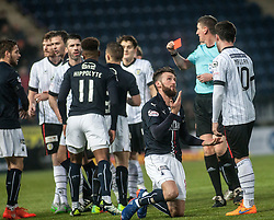 St Mirren's Jack Baird punches Falkirk's Lee Miller after a tackle and gets a red card. Falkirk 3 v 1 St Mirren, Scottish Championship game played 3/12/2016 at The Falkirk Stadium.