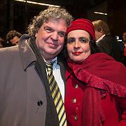 NLD/Amsterdam/20140307 - Boekenbal 2014, Adri van der Heijden en partner Mirjam Rotenstreich