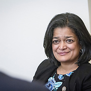Representative Pramila Jayapal (D-WA, 7), meet with representatives of the Washington Bankers Association, on Tuesday, January 31, 2017.  John Boal photo/for The Stranger