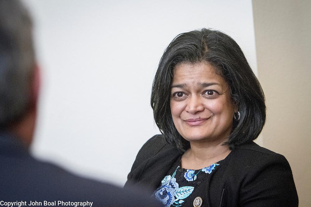 Representative Pramila Jayapal (D-WA, 7), meet with representatives of the Washington Bankers Association, on Tuesday, January 31, 2017.  John Boal photo/for The Stranger