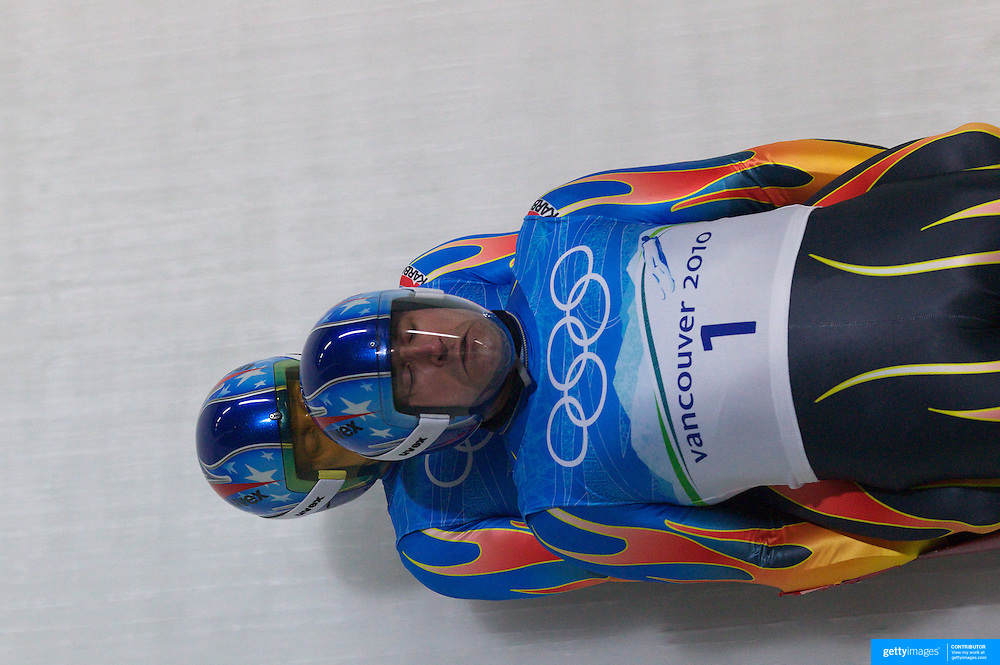 Winter Olympics, Vancouver, 2010.Mark Grimmette and Brian Martin, USA,  in action during the Luge Doubles at the Whistler Sliding Centre, Whistler, during the Vancouver  Winter Olympics. 16th February 2010. Photo Tim Clayton