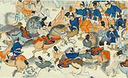 Lively scene of men and  horses in front of men on steps holding bows. Horses being put through their paces and one warrior riding and one mounting. Japan. Print created between 1860 and 1890.