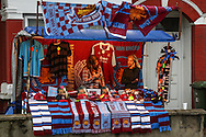 A trade stand displays Carlos Tevez masks  for sale before the game between West Ham United and Sheffield United before the Capital One Cup match at the Boleyn Ground, London<br /> Picture by David Horn/Focus Images Ltd +44 7545 970036<br /> 26/08/2014
