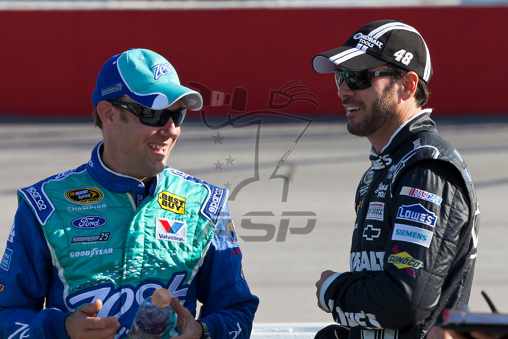 DARLINGTON, SC - MAY 11, 2012:  Matt Kenseth (17) and Jimmie Johnson (48) talk during qualifying for the Bojangles Southern 500 at the Darlington Raceway in Darlington, SC.