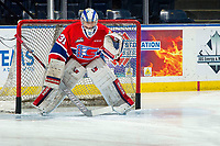 KELOWNA, BC - MARCH 13: Bailey Brkin #31 of the Spokane Chiefs warms up in net against the Kelowna Rockets at Prospera Place on March 13, 2019 in Kelowna, Canada. (Photo by Marissa Baecker/Getty Images)