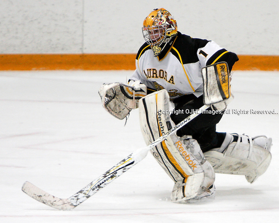 AURORA, ON - Mar 1 : Ontario Junior Hockey League, Playoff Series Action: 1st round game between the Lindsay Muskies and the Aurora Tigers, Brett Sinclair,#1 of the Aurora Tigers races to the bench during third period game action..(Photo by Brian Watts / OJHL Images)