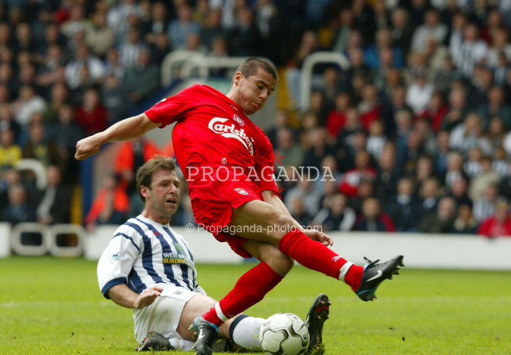 WEST BROMWICH, ENGLAND - Saturday, April 26, 2003: Liverpool's Milan Baros in action against West Bromwich Albion during the Premiership match at the Hawthorns, Birmingham. Saturday, April 26th, 2003..Pic by David Rawcliffe/Propaganda..Any problems call David Rawcliffe +44(0)7973 14 2020 david@propaganda-photo.com http://www.propaganda-photo.com (Pic by David Rawcliffe/Propaganda)