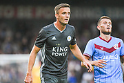Andy King of Leicester City (37) during the Pre-Season Friendly match between Scunthorpe United and Leicester City at Glanford Park, Scunthorpe, England on 16 July 2019.
