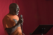 Author Norris Shelton lectures during a book club meeting at the First Church of American Slaves at 314 Dr. W. J. Hodge Street, Saturday Aug. 27, 2011 in Louisville, Ky. (Photo by Brian Bohannon)