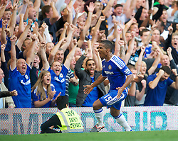 LONDON, ENGLAND - Saturday, August 20, 2011: Chelsea's Florent Malouda celebrates scoring the second goal against West Bromwich Albion during the Premiership match at Stamford Bridge. (Pic by David Rawcliffe/Propaganda)