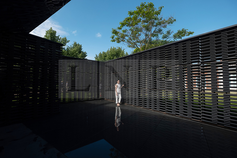 © Licensed to London News Pictures. 11/06/2018. London, UK. Artist FRIDA ESCOBEDO poses inside her Serpentine Summer Pavilion for 2018 in Hyde Park. Photo credit: Ray Tang/LNP