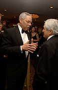 Colin Powell and Jim Wolfensohn ( President of the World Bank) , Washington Correspondents dinner, Washington Hilton, 26 April 2003. © Copyright Photograph by Dafydd Jones 66 Stockwell Park Rd. London SW9 0DA Tel 020 7733 0108 www.dafjones.com