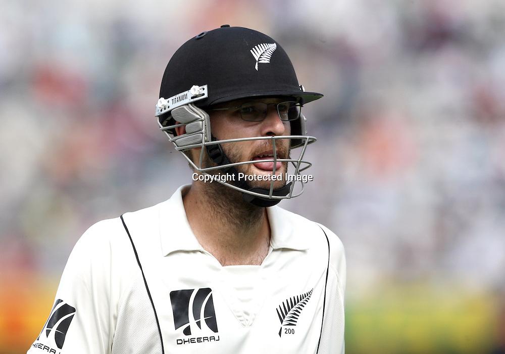 New Zealand batsman Daniel Vettori go back pavilion during the Indian vs New Zealand 2nd test match day-5 Played at Rajiv Gandhi International Stadium, Uppal, Hyderabad 16 November 2010 (5-day match)