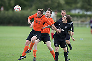 Dundee Saturday Morning Football at Riverside, Dundee: <br /> Club 83 (tangerine) v Cannon Fodder (black)<br /> <br />  - Picture by David Young