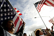 Theodore Sanchez, left, at the National Day of Action demonstration in Los Angeles, CA on Monday, April 10, 2006.<br />