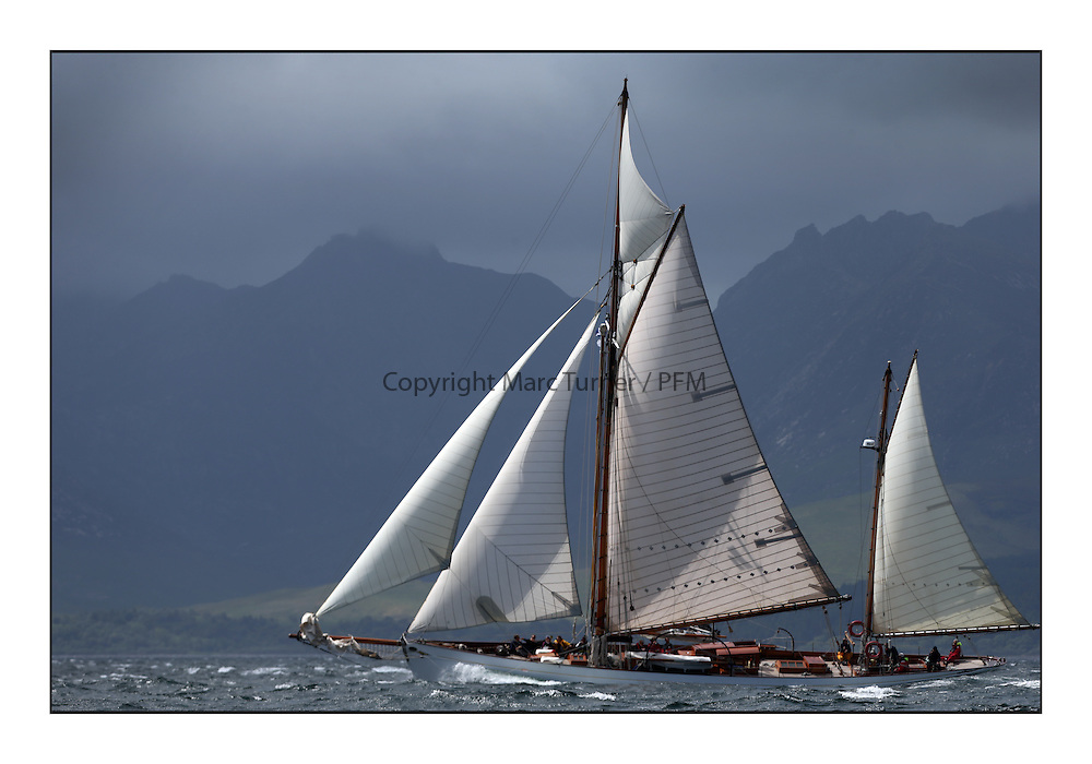 Day five of the Fife Regatta, Race from Portavadie on Loch Fyne to Largs. <br /> <br /> Kentra, E &amp; D Klaus, GBR, Gaff Ketch, Wm Fife 3rd, 1923<br /> <br /> * The William Fife designed Yachts return to the birthplace of these historic yachts, the Scotland&rsquo;s pre-eminent yacht designer and builder for the 4th Fife Regatta on the Clyde 28th June&ndash;5th July 2013<br /> <br /> More information is available on the website: www.fiferegatta.com
